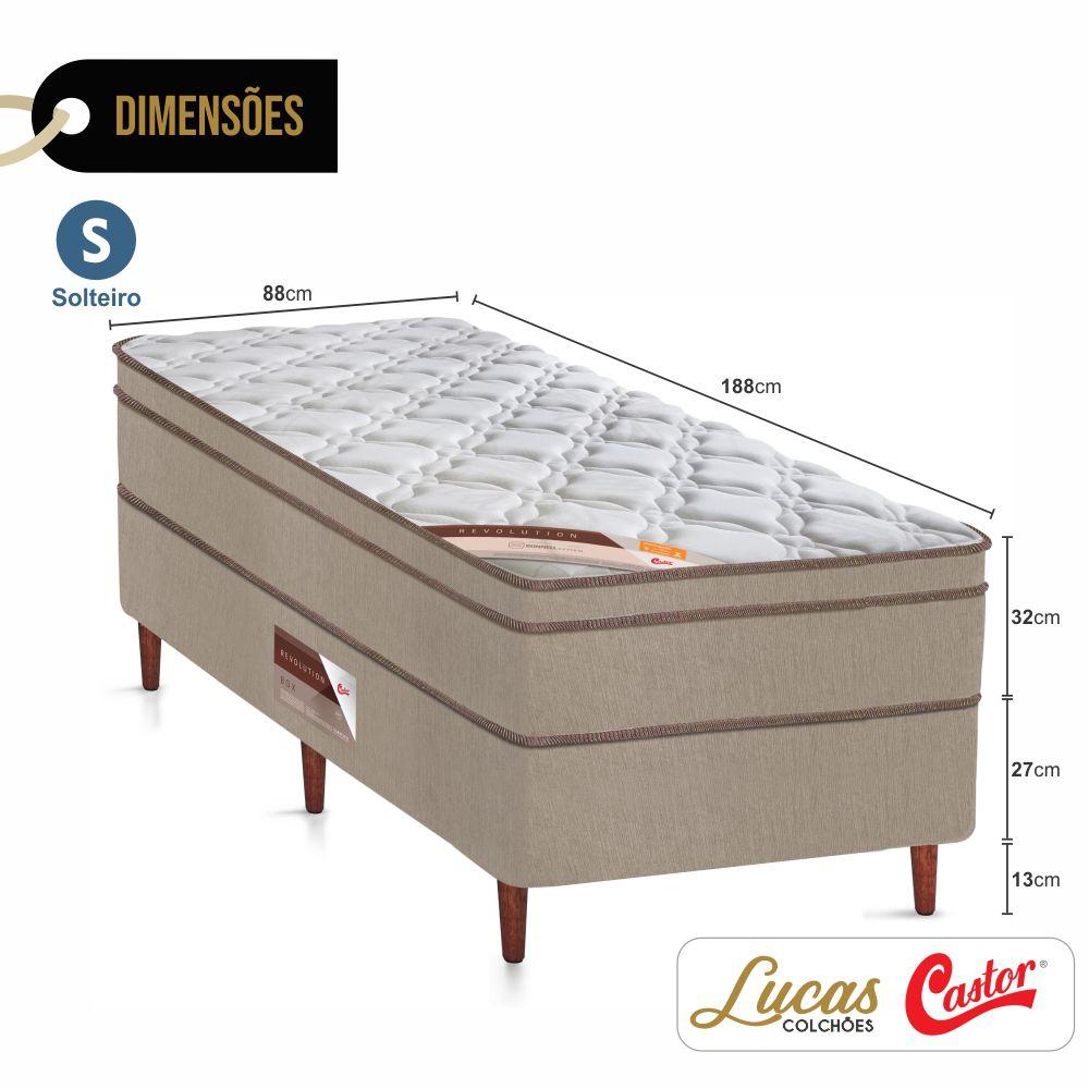 Cama Box Solteiro + Colchão De Molas  - Castor - Revolution Bonnel 88cm