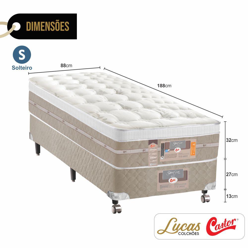 Cama Box Solteiro + Colchão De Molas Ensacadas - Castor - Silver Star Air 88cm