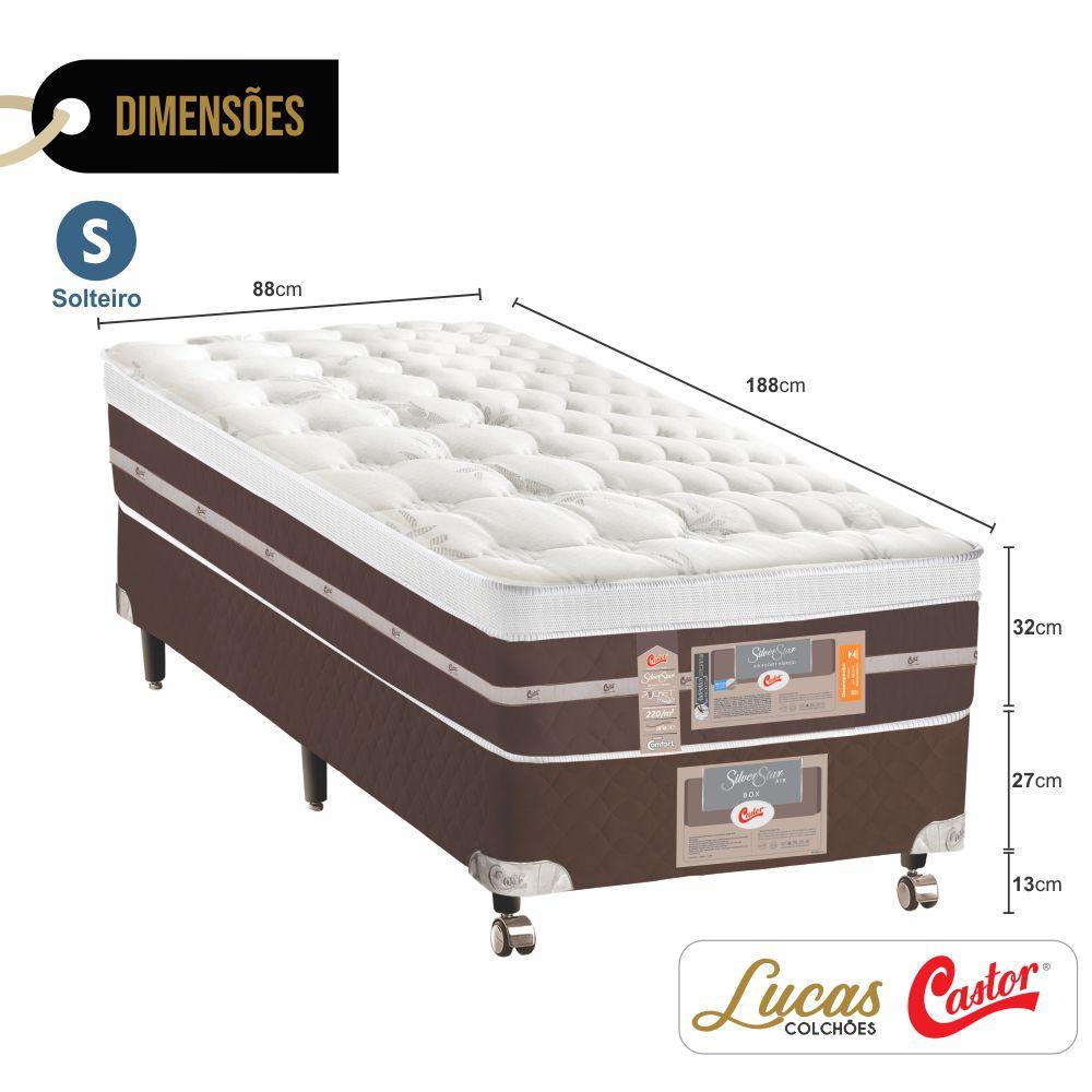 Cama Box Solteiro + Colchão De Molas Ensacadas - Castor - Silver Star Air Híbrido 88cm