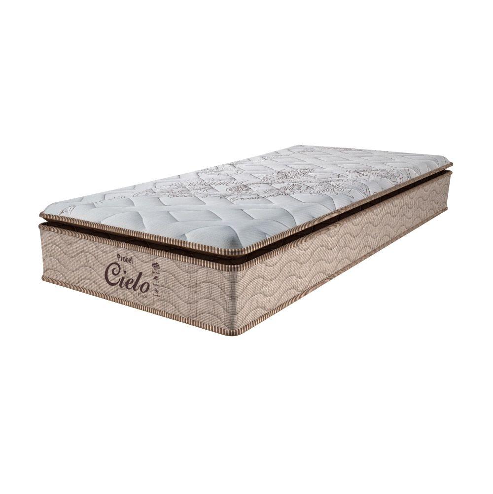 Cama Box Solteiro + Colchão de Molas Ensacadas - Probel - Cielo Pillow Super 68x188x88cm