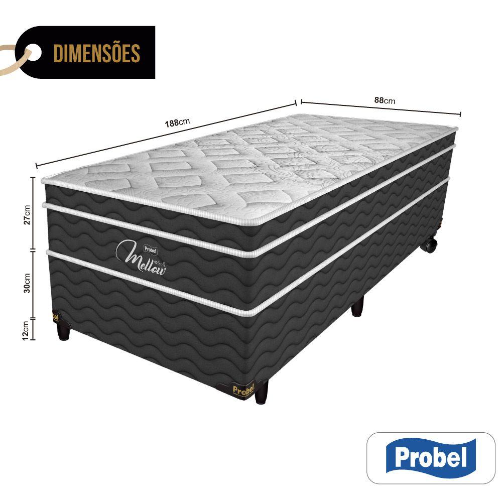 Cama Box Solteiro + Colchão de Molas Ensacadas - Probel - Mellow Soft Pillow Euro 64,5x188x88cm