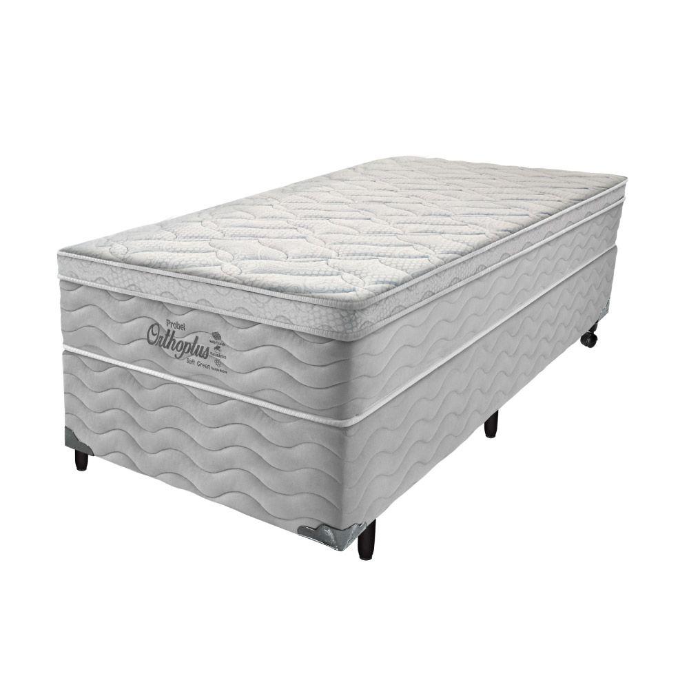 Cama Box Solteiro + Colchão de Molas - Probel - Orthoplus Soft Green Pillow Euro 68x188x88cm