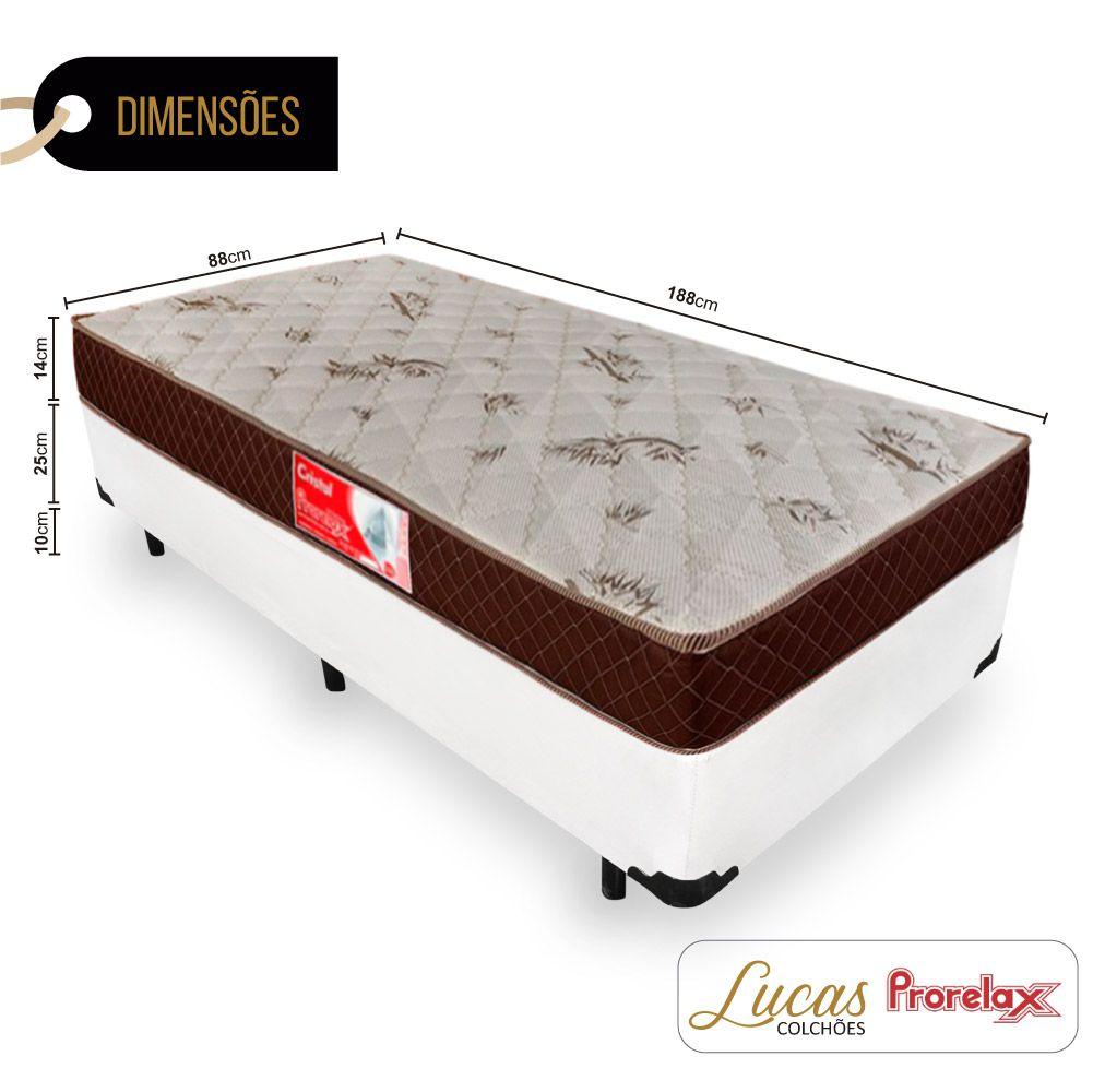 Cama Box Solteiro + Colchão De Molas - Prorelax - Cristal 88cm