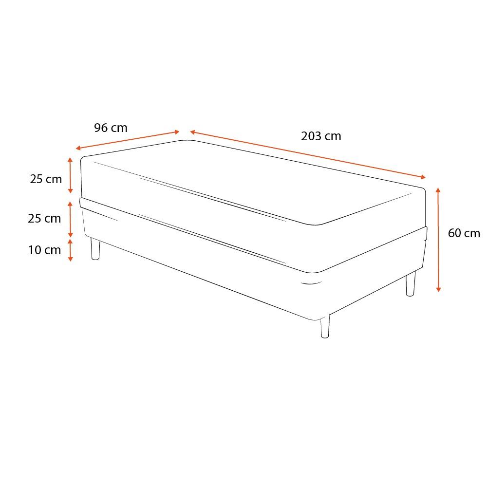 Cama Box Solteiro King Branca + Colchão Molas Ensacadas - Castor - Class Pocket Híbrido One Face 96x203x60cm
