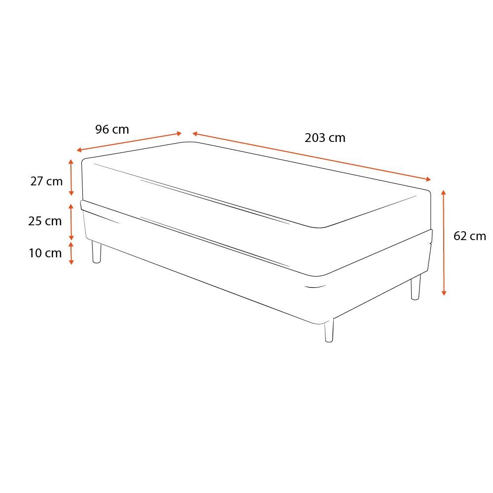 Cama Box Solteiro King Cinza + Colchão De Espuma D33 - Castor - Black White Double Face 96x203x62cm