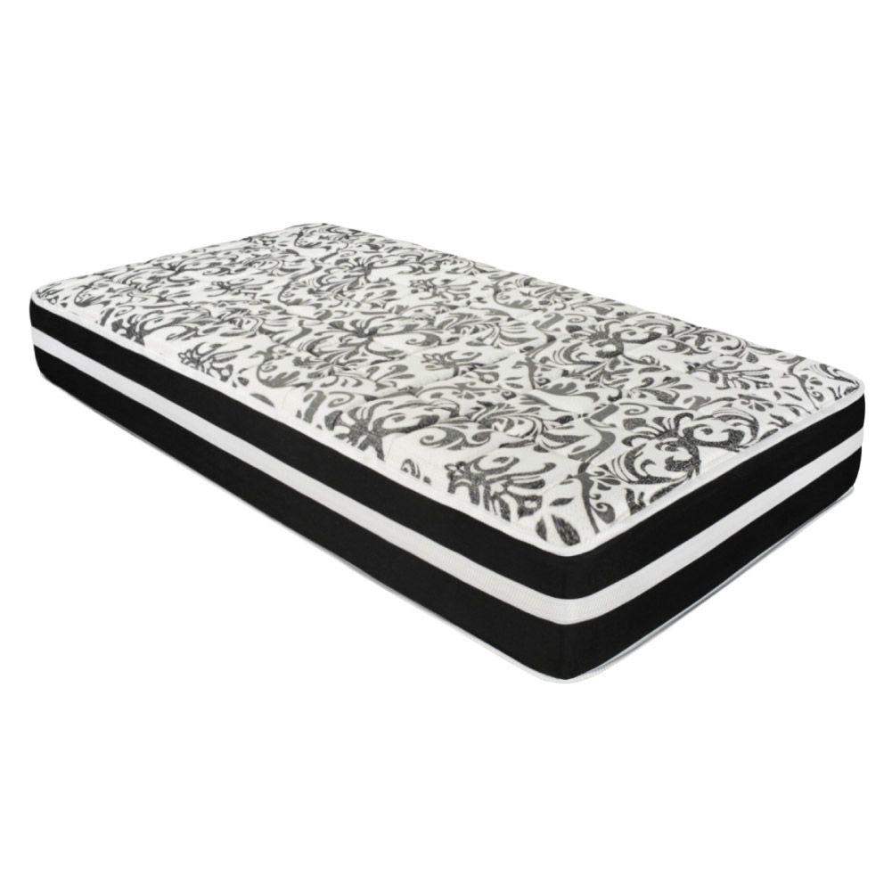 Cama Box Solteiro King Marrom + Colchão De Molas - Anjos - Black Graphite 96x203x61cm
