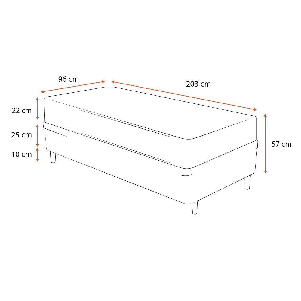Cama Box Solteiro King Preta + Colchão De Molas - Anjos - Classic Superlastic - 96x203x57cm