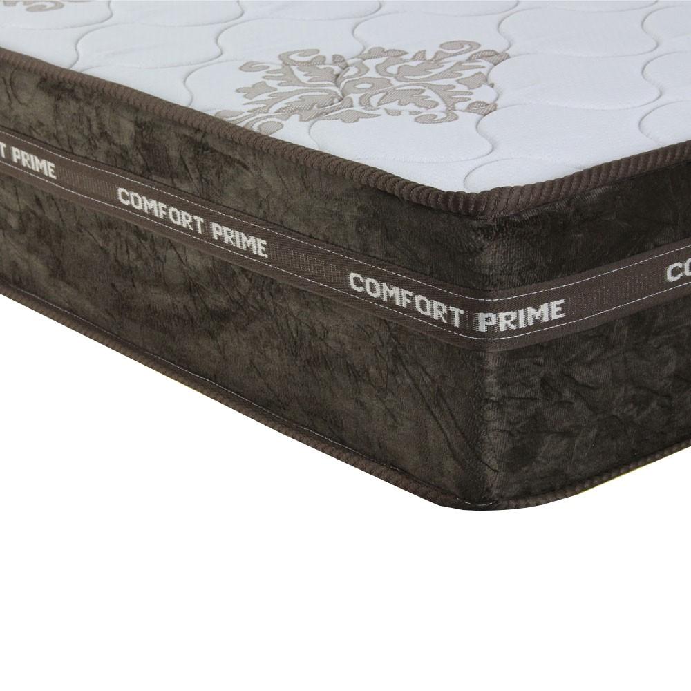 Cama Box Solteiro Marrom + Colchão de Molas Superlastic - Comfort Prime - Coil Classic - 88x188x57cm