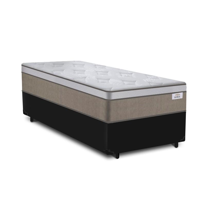 Cama Box Solteiro Preta + Colchão de Molas Ensacadas - Plumatex - Ilhéus - 88x188x61cm