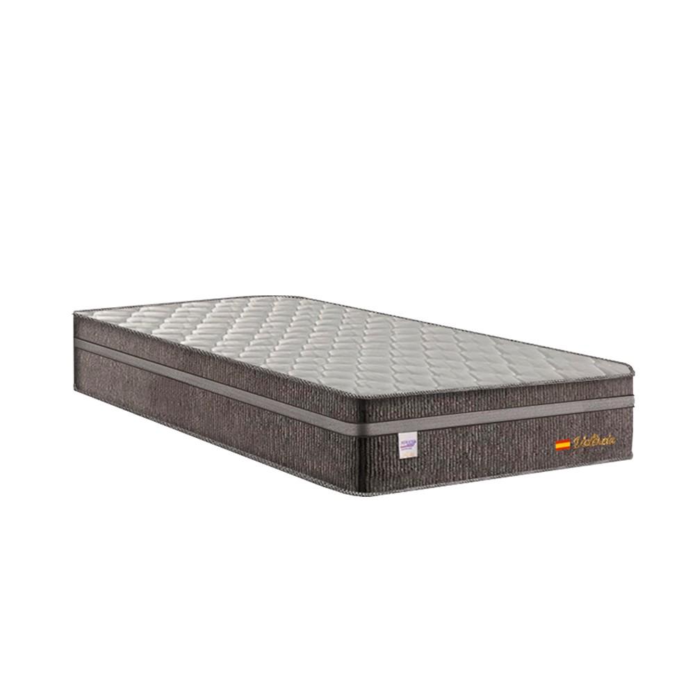 Cama Box Solteiro Preta + Colchão de Molas Superlastic - Plumatex - Valencia - 88x188x65cm