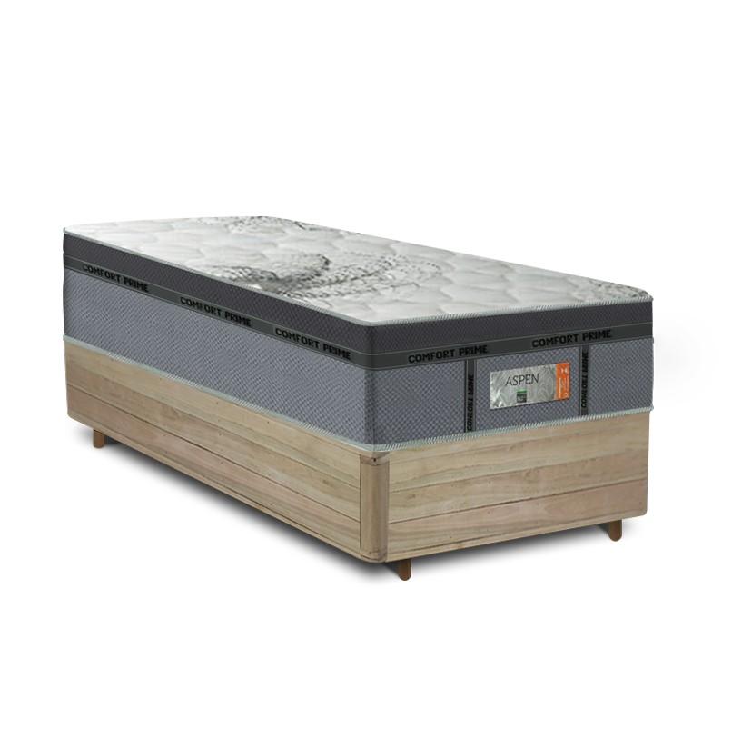 Cama Box Solteiro Rústica + Colchão de Molas Ensacadas - Comfort Prime - New Aspen - 88x188x67cm