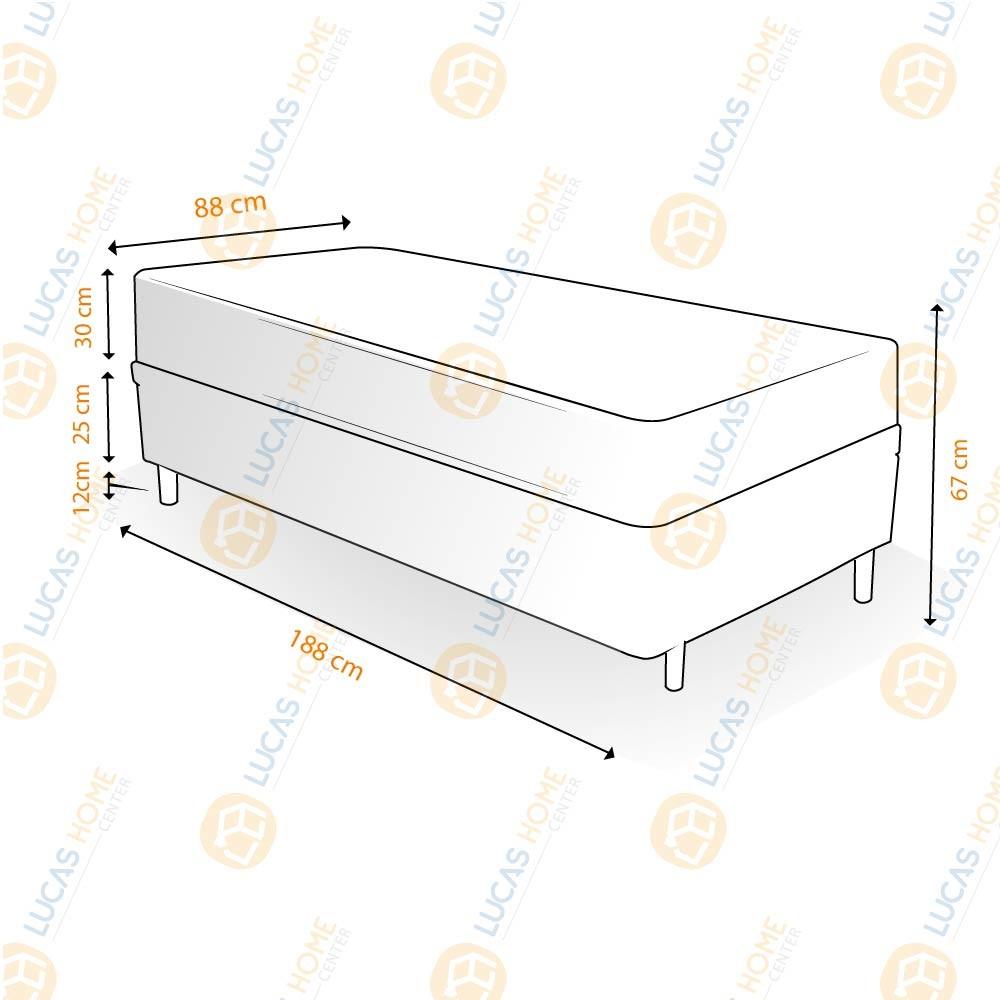 Cama Box Solteiro Rústica + Colchão De Molas Ensacadas - Ortobom - AirTech SpringPocket 88x188x67cm