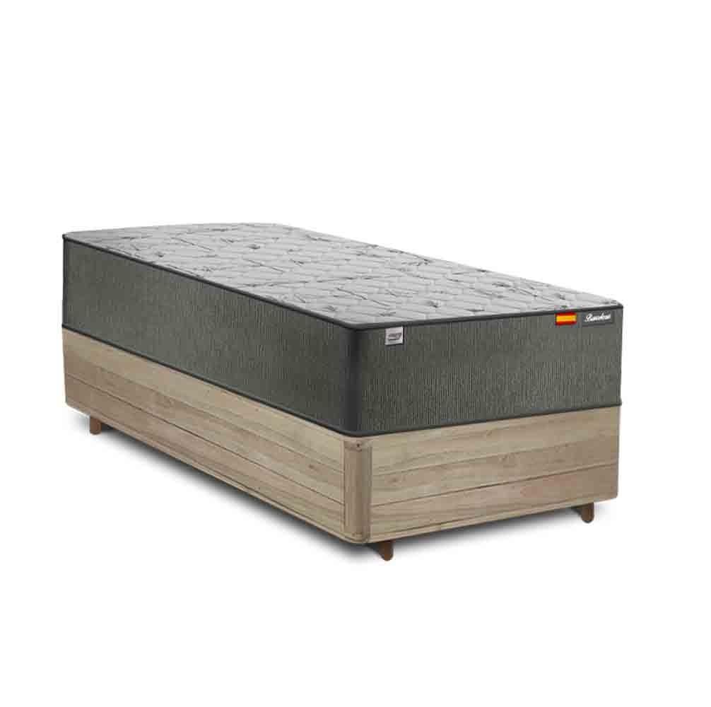 Cama Box Solteiro Rústica  + Colchão de Molas Ensacadas - Plumatex - Barcelona - 88x188x69cm
