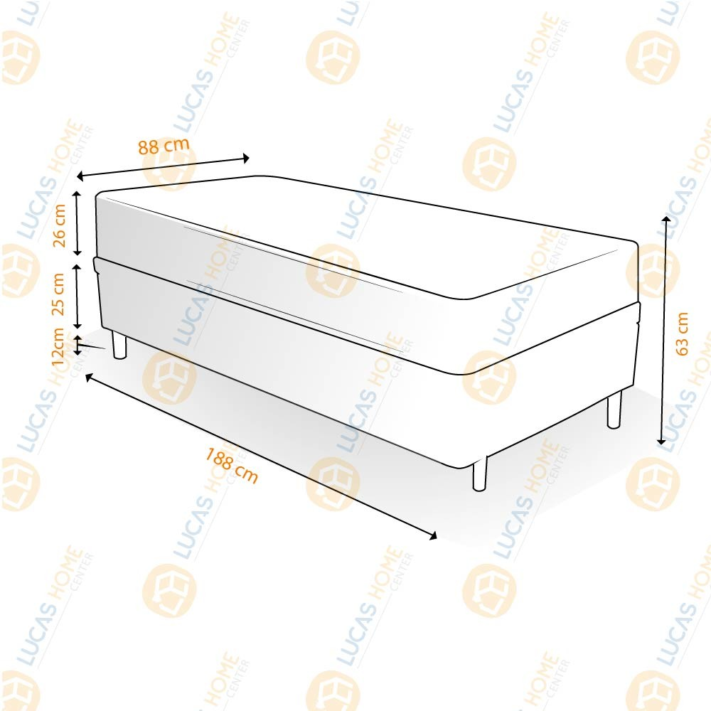 Cama Box Solteiro Rústica + Colchão de Molas Ensacadas - Plumatex - Ilhéus - 88x188x63cm