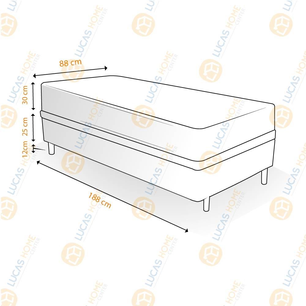Cama Box Solteiro Rústica + Colchão Massageador c/ Infravermelho - Anjos - New King 88x188x67cm