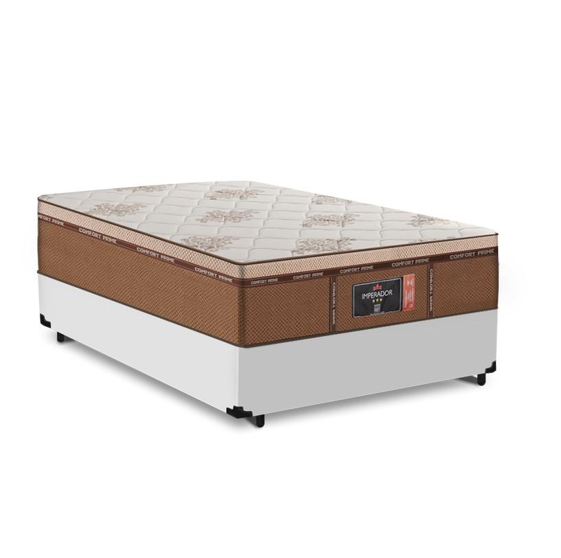 Cama Box Viuva Branca + Colchão de Molas Ensacadas - Comfort Prime - New Imperador - 128x188x68cm