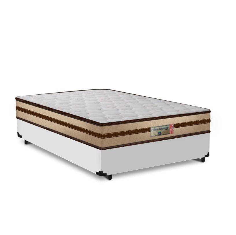 Cama Box Viúva Branca + Colchão de Molas Ensacadas - Comfort Prime - Prime Dreams Classic - 128x188x57cm