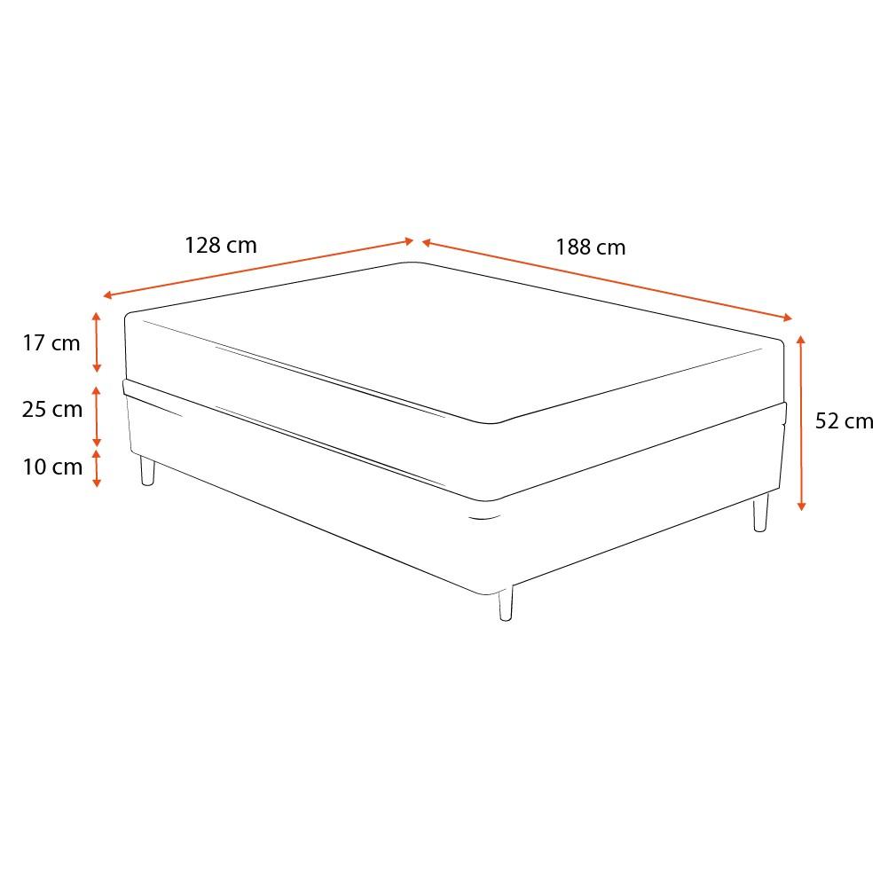 Cama Box Viúva Cinza + Colchão De Espuma D26 - Ortobom - Physical Ultra Resistente - 128x188x52cm