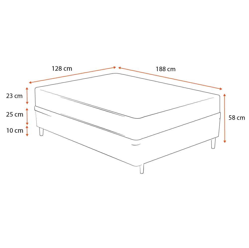 Cama Box Viúva Cinza + Colchão De Molas Ensacadas - Ortobom - Physical Nanolastic - 128x188x58cm