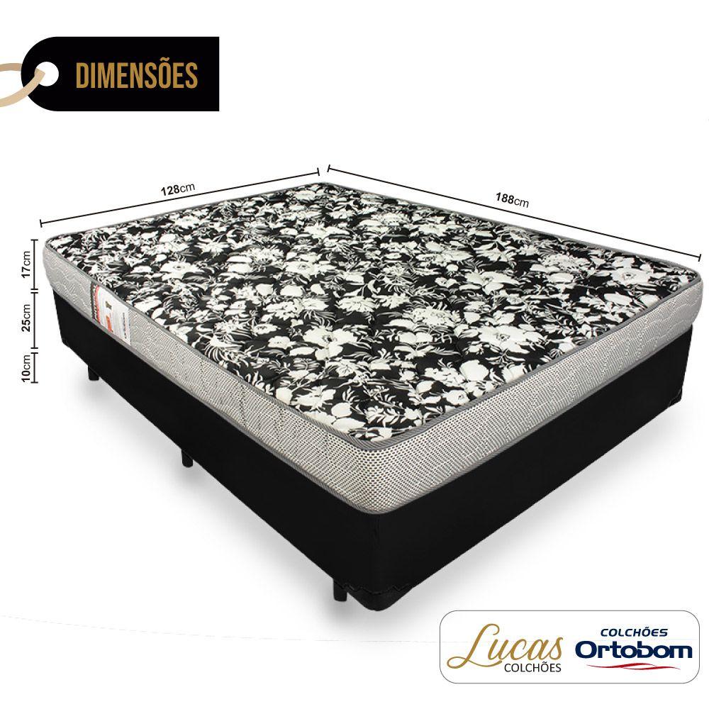 Cama Box Viúva + Colchão De Espuma D26 - Ortobom - Physical Ultra Resistente 128cm