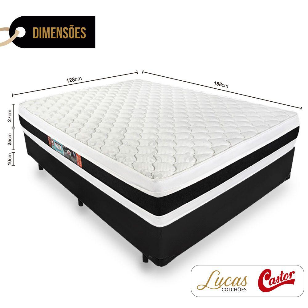 Cama Box Viúva + Colchão De Espuma D45 - Castor - Black White Double Face 128cm