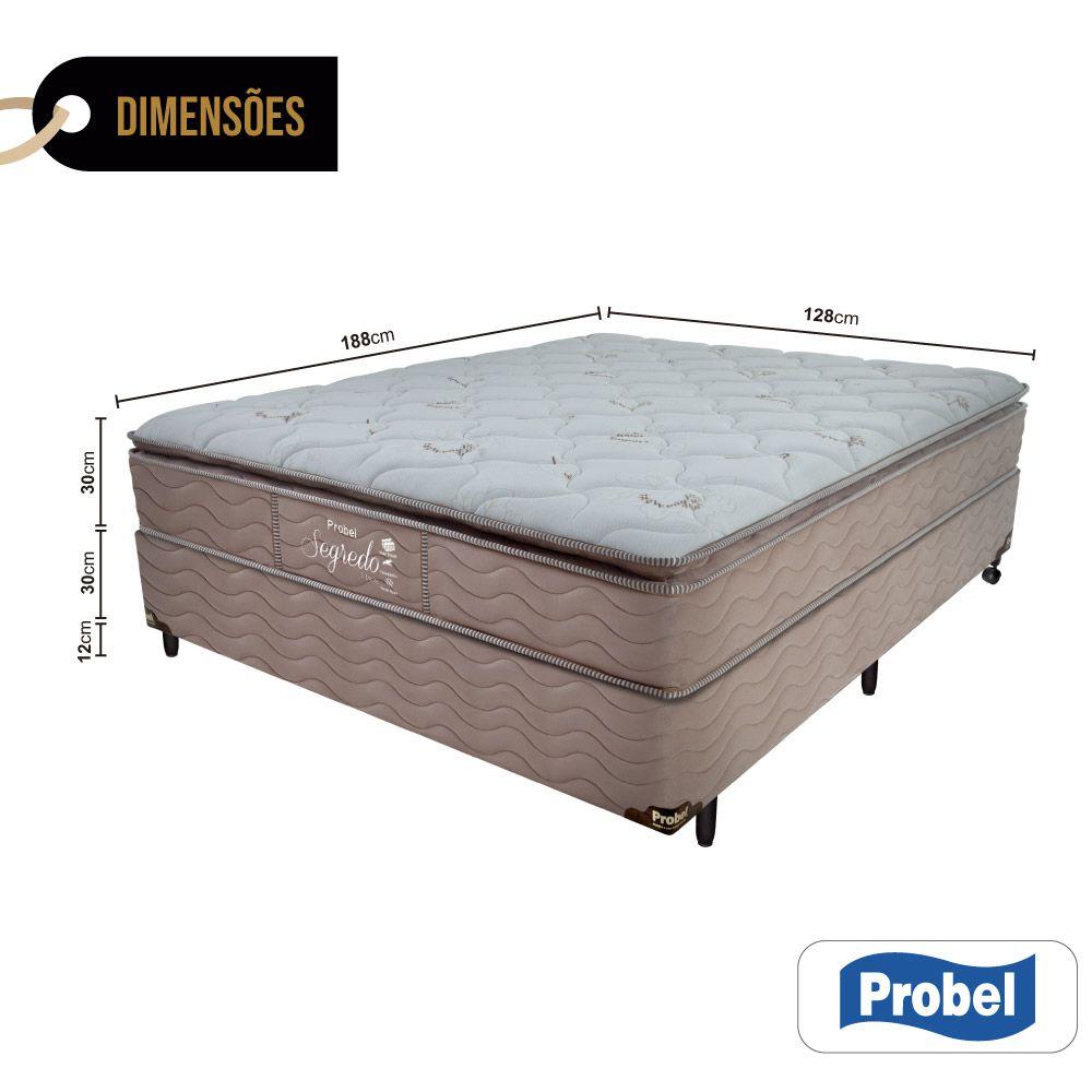 Cama Box Viúva + Colchão de Molas Ensacadas - Probel - Segredo Pillow Super 72x188x128cm