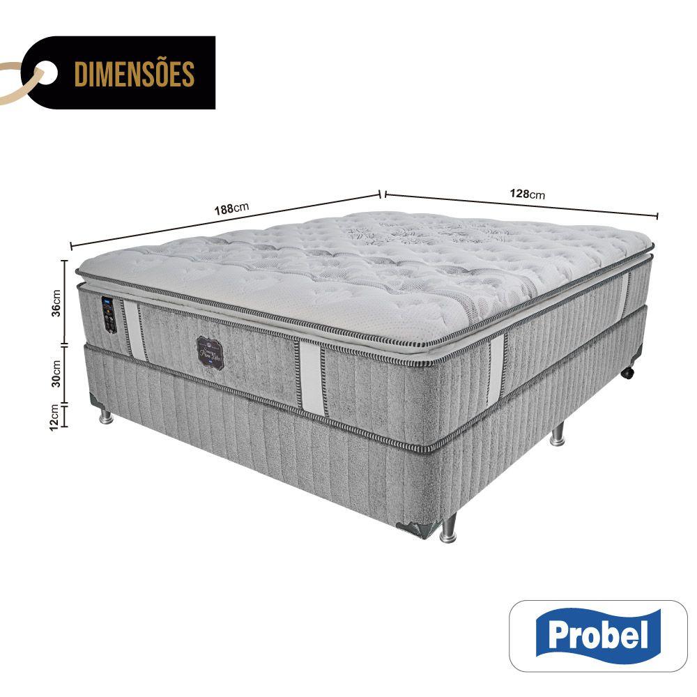 Cama Box Viúva + Colchão de Molas Ensacadas - Probel - Sensory Prime Látex Pillow Super 74x188x128cm