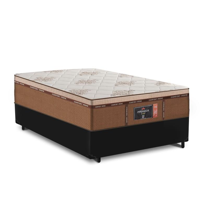 Cama Box Viuva Preta + Colchão de Molas Ensacadas - Comfort Prime - New Imperador - 128x188x68cm