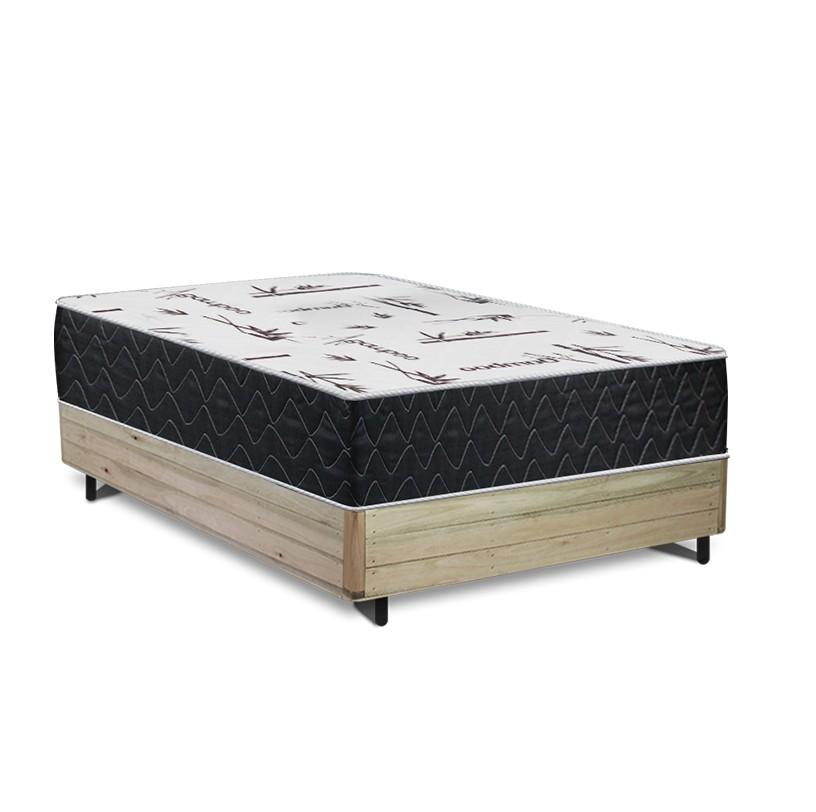 Cama Box Viúva Rústica + Colchão de Espuma Extra Firme D33 - Comfort Prime - Comfort Maxx - 128x188x67cm