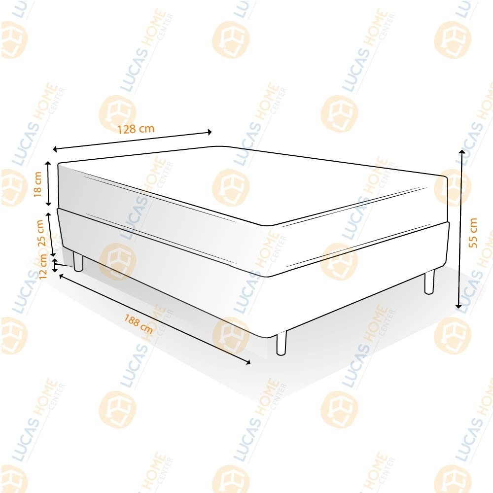 Cama Box Viúva Rústica + Colchão De Espuma D33 - Ortobom - ISO 100 128x188x55cm