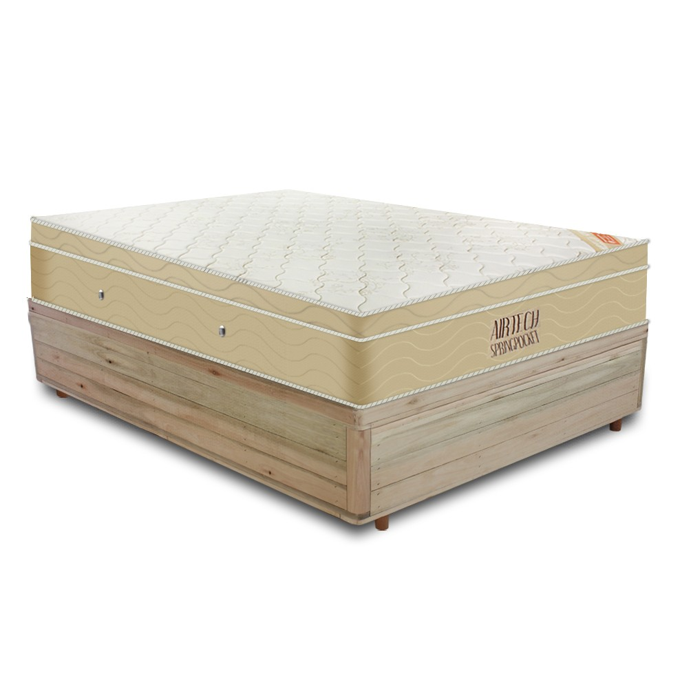 Cama Box Viúva Rústica + Colchão De Molas Ensacadas - Ortobom - AirTech SpringPocket 128x188x67cm