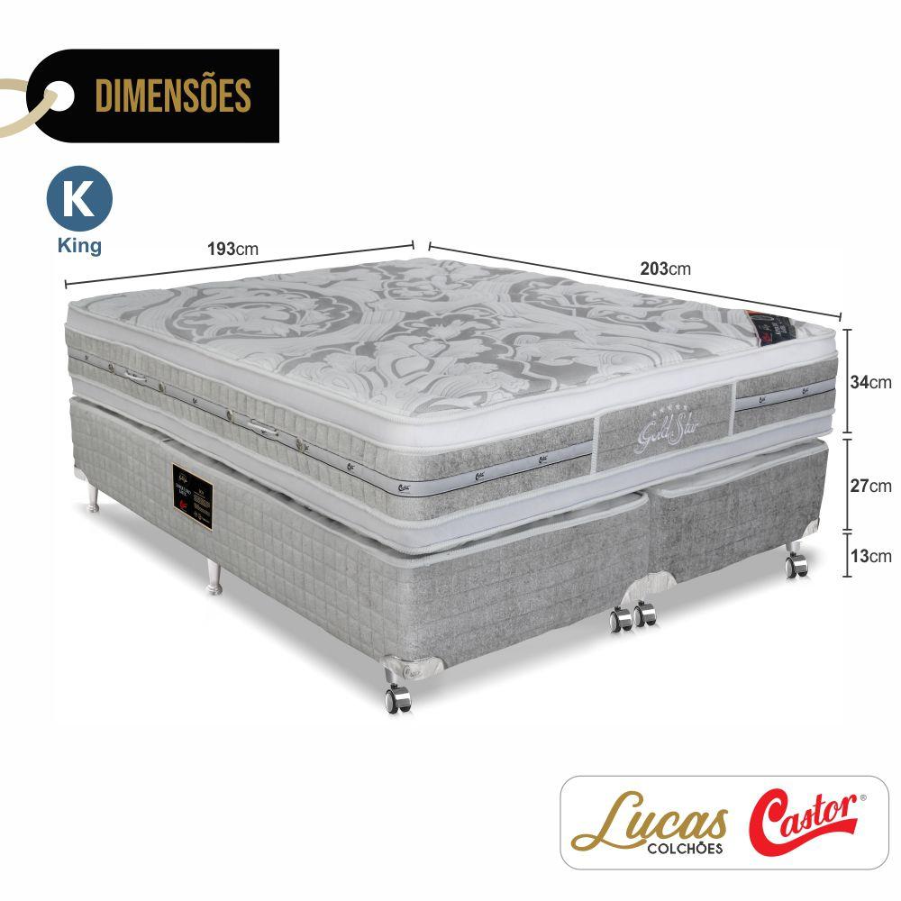 Cama Box King + Colchão De Molas Ensacadas - Castor - Gold Star Double Face 193cm