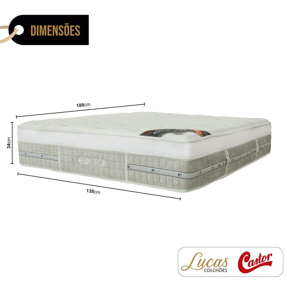 Colchão De Molas Ensacadas Casal - Castor - Eurotop Summer & Winter One Face 138cm