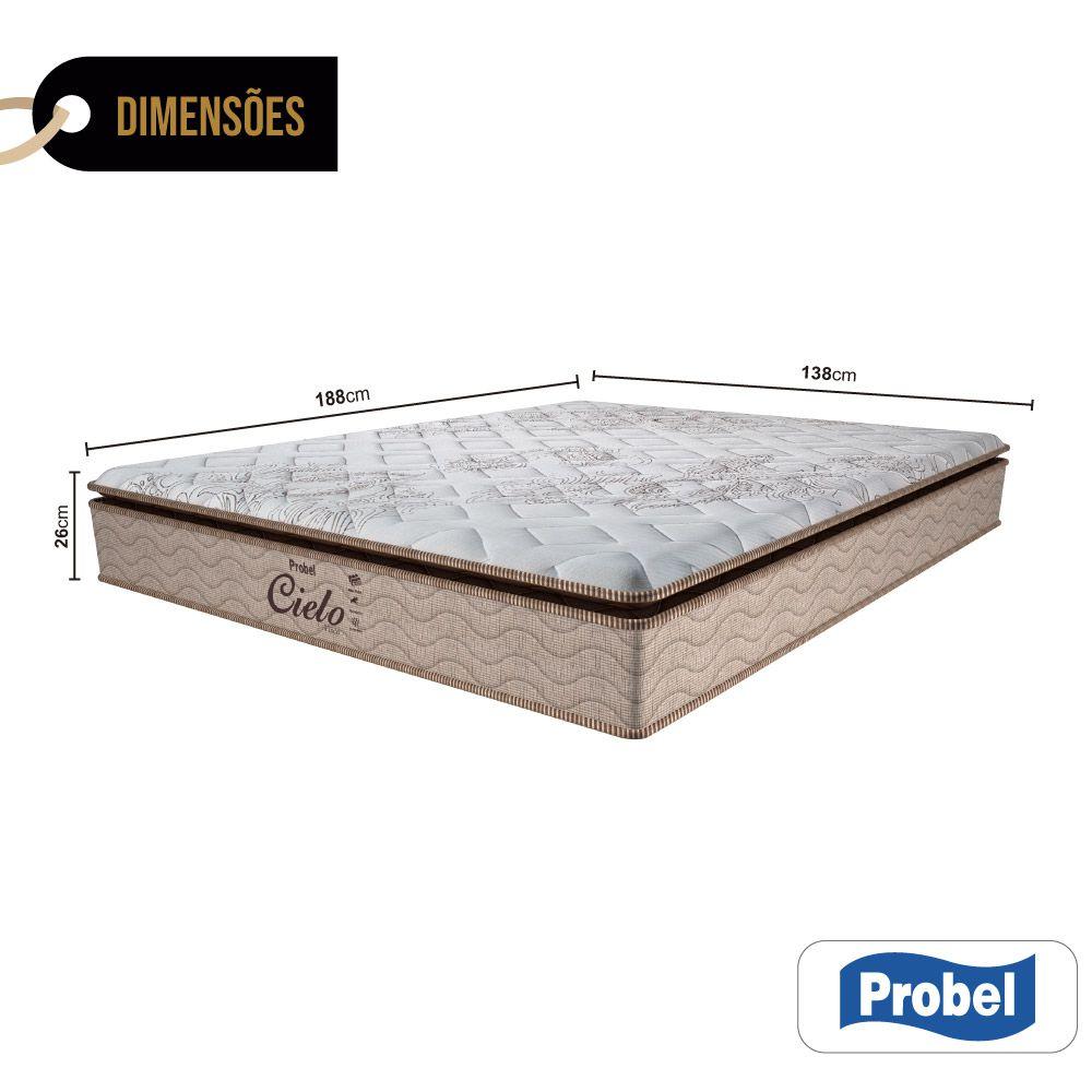 Colchão De Molas Ensacadas Casal - Probel - Cielo Pillow Super 26x188x138