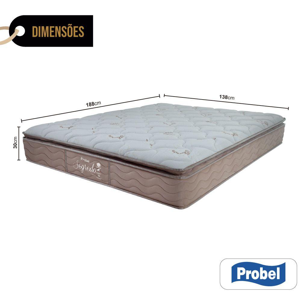Colchão De Molas Ensacadas Casal - Probel - Segredo Pillow Super 30x188x138