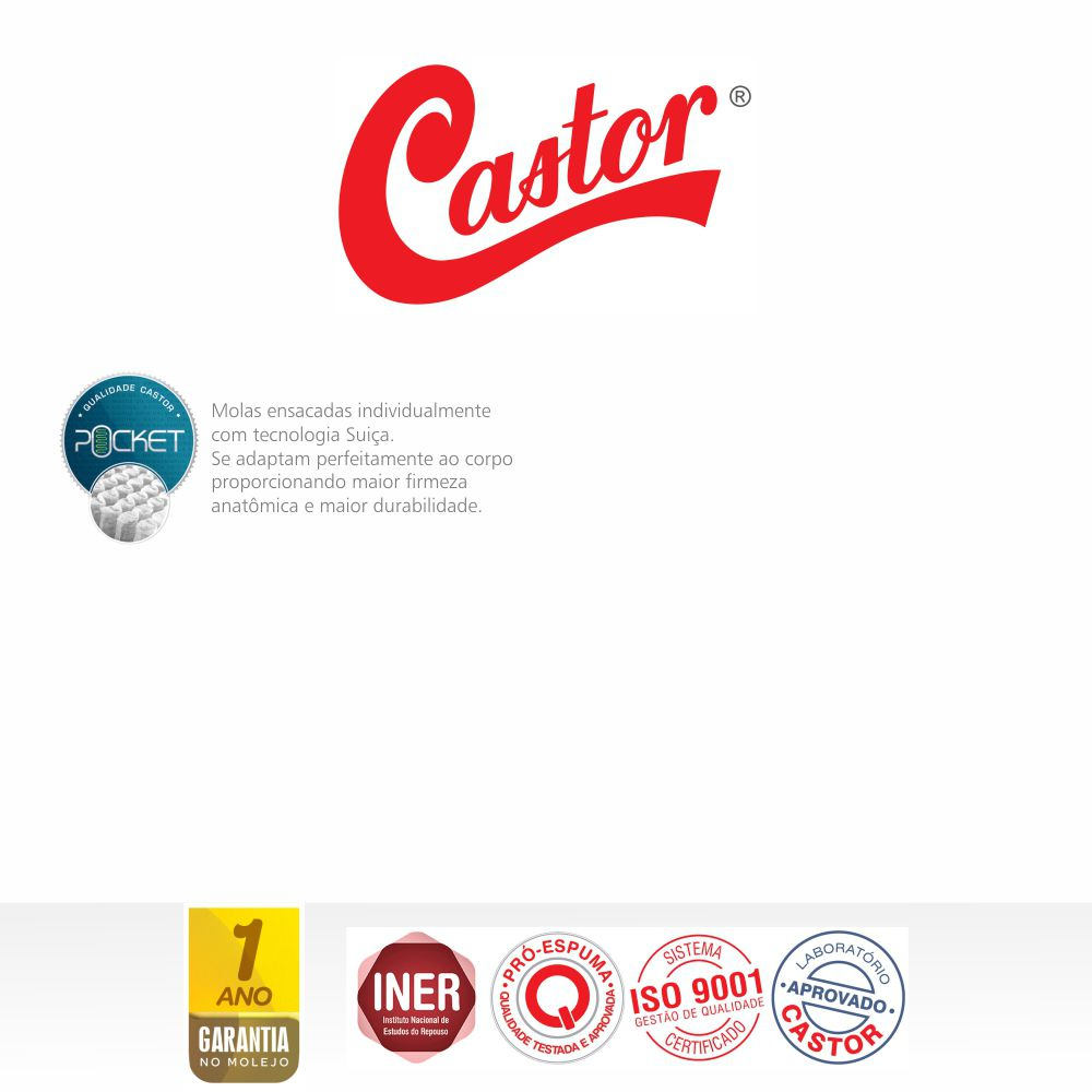 Colchão De Molas Ensacadas Queen - Castor - Revolution Pocket 158cm