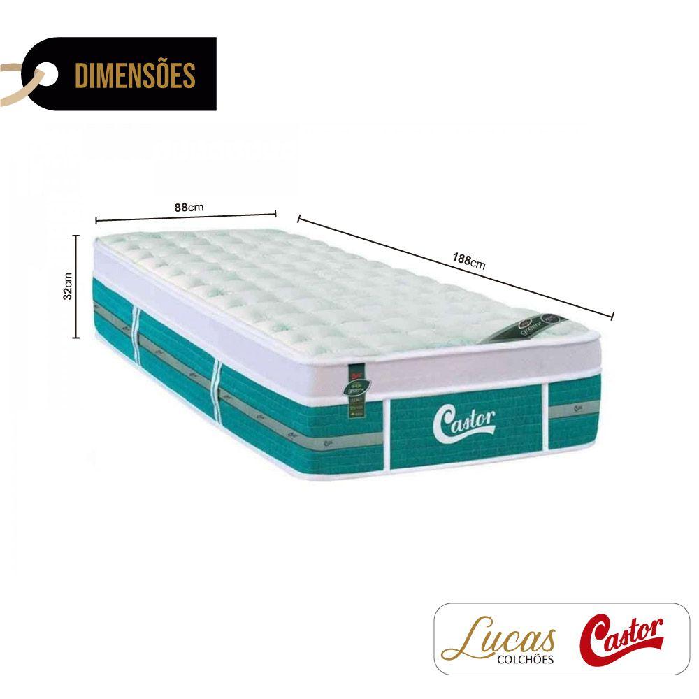 Colchão de Molas Ensacadas Solteiro - Castor - Green Unique 32x188x88cm