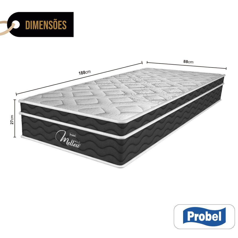 Colchão De Molas Ensacadas Solteiro - Probel - Mellow Soft Pillow Euro 27x188x88