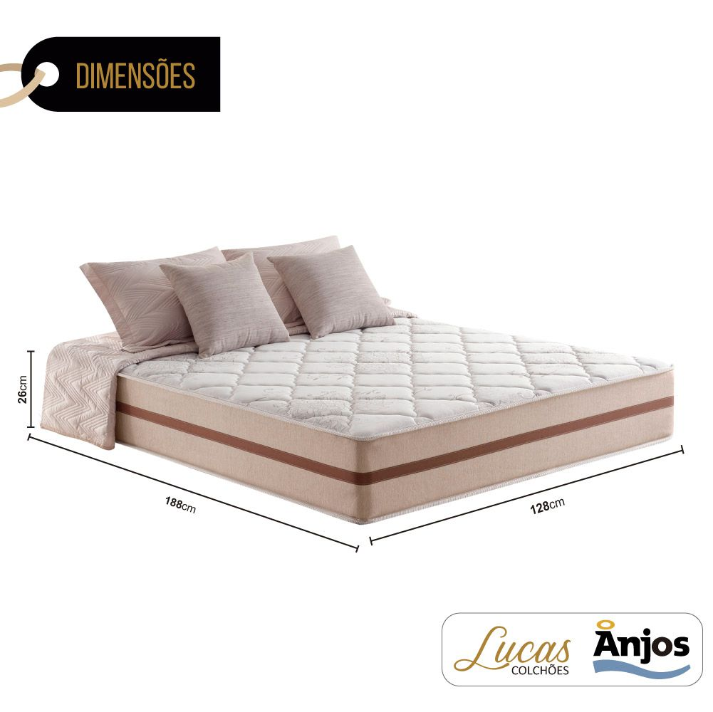 Colchão de Molas Ensacadas Viúva - Anjos - Classic 26x188x128cm