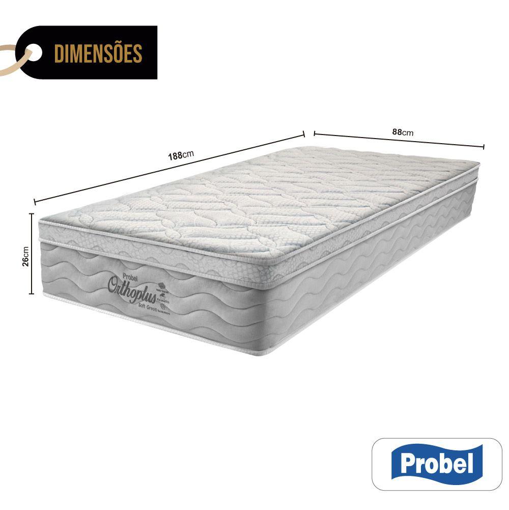 Colchão De Molas Solteiro - Probel - Orthoplus Soft Green Pillow Euro 26x188x88