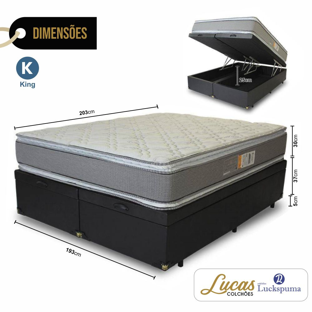 Cama Box Baú King + Colchão Trade Bonnel Luckspuma - 193x203x43cm