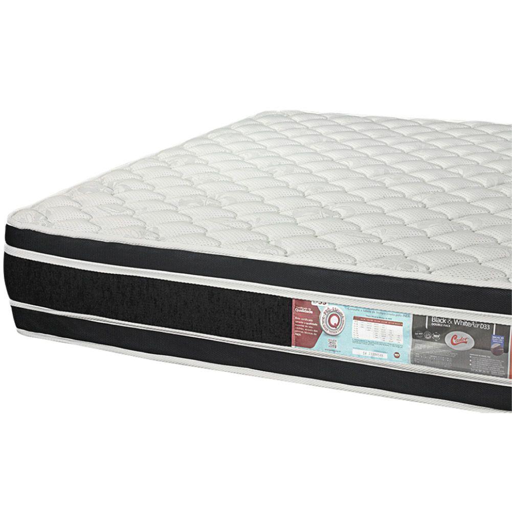 Cama Box King + Colchão De Espuma D33 - Castor - Black White Double Face 193cm