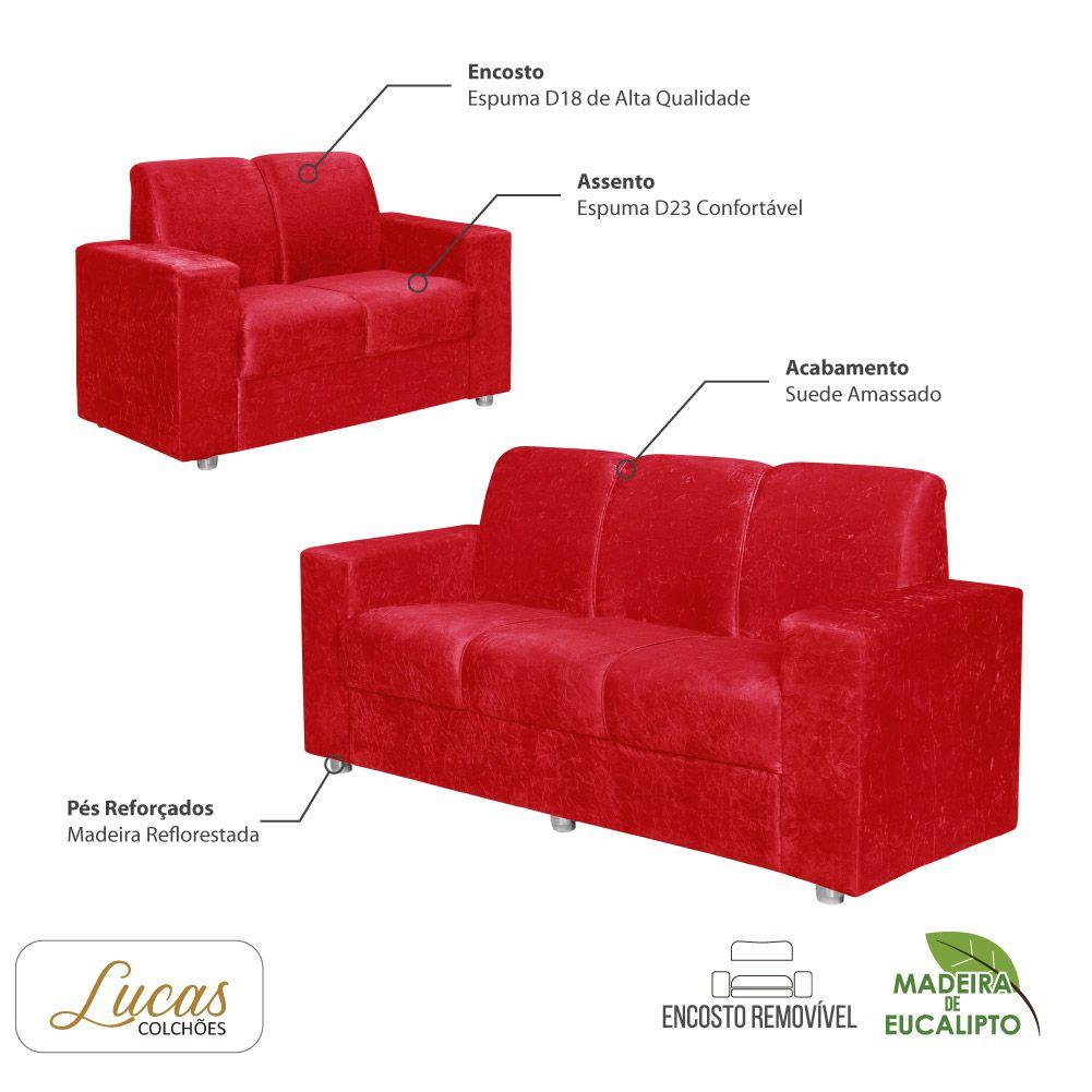 Sofá 2 e 3 Lugares Suede Vermelho - Lucas Colchões - Califórnia Ref 1050
