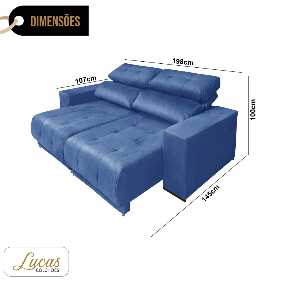 Sofá 3 Lugares Retrátil e Reclinável Suede Azul Marinho - Lucas Colchões - Paris Ref 3080