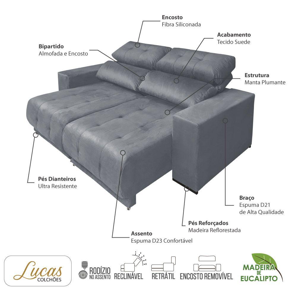 Sofá 3 Lugares Retrátil e Reclinável Suede Cinza - Lucas Colchões - Paris Ref 3080