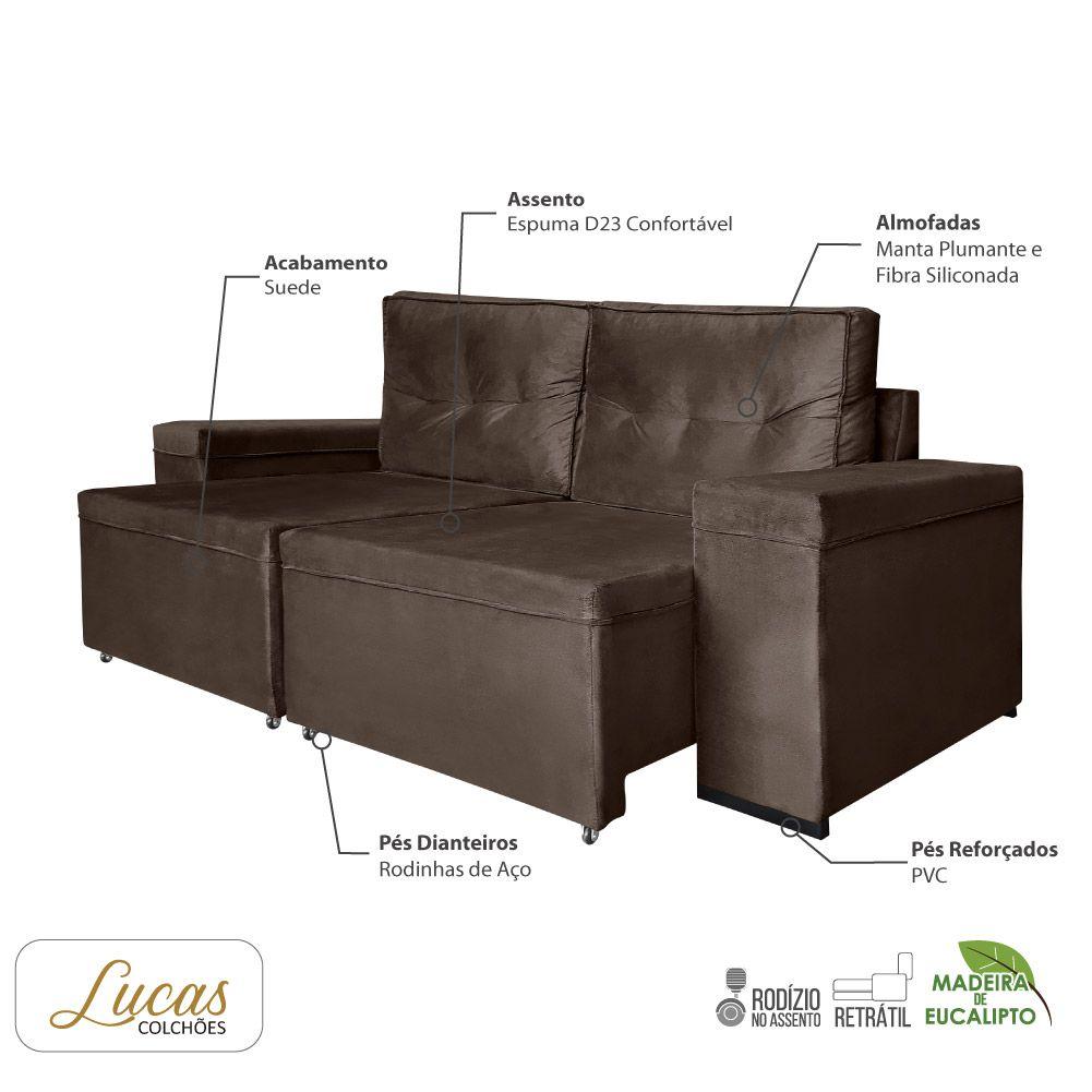 Sofá 3 Lugares Retrátil Veludo Tabaco - Lucas Colchões - Amarok Ref 3090