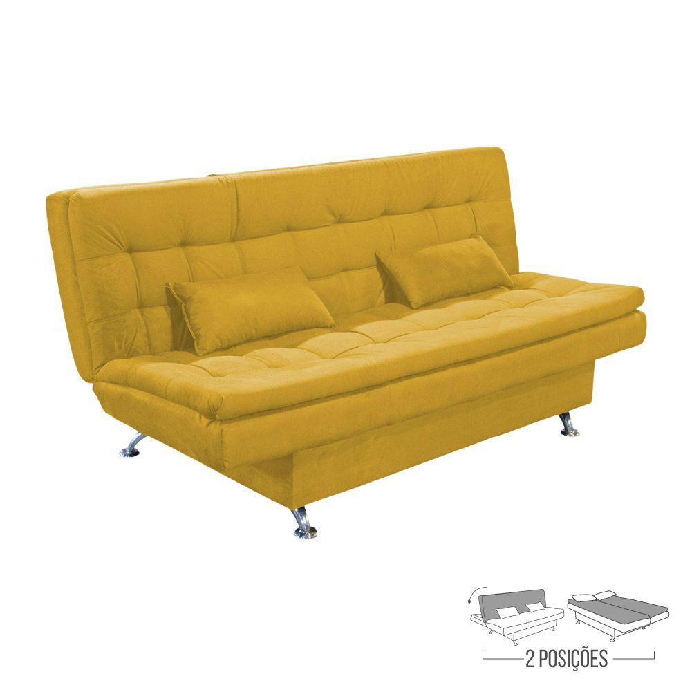 Sofá Cama 3 Lugares Suede Amarelo - Matrix - Salomé