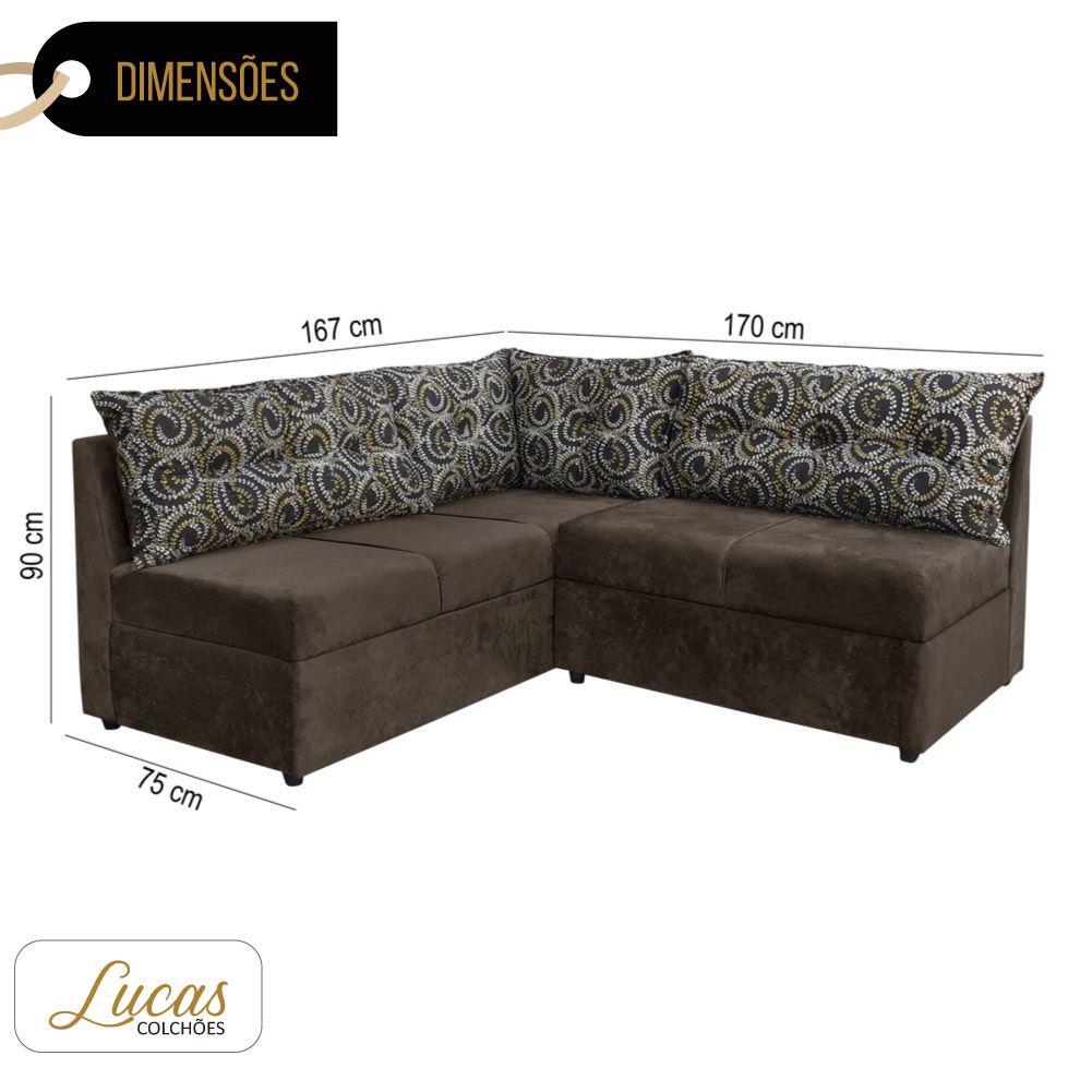 Sofá de Canto 5 Lugares Suede Tabaco c/ Almofadas Preto Floral - Lucas Colchões - Dallas Ref 1085