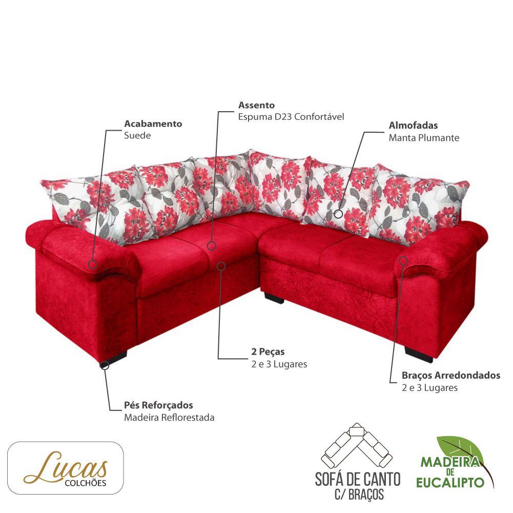 Sofá de Canto 5 Lugares Suede Vermelhos c/ Almofadas Vermelho Floral - Lucas Colchões - Chicago Ref 1090
