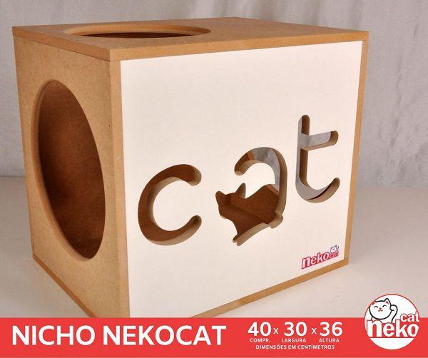 Kit 02 Nichos Gatos + Ponte + 04 Prateleiras s/Carpete - Frente Branca